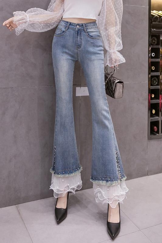 Bell-Bottom Pants Women's High Waist Jeans Autumn Clothes Slimming