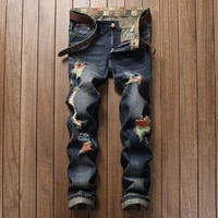 mens personality painted jeans on the streets of europe and the united states mens pierced straight tube distressed jeans