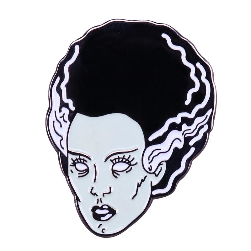 Pin de esmalte vintage de la novia de Frankenstein, regalo de película de horror de Halloween