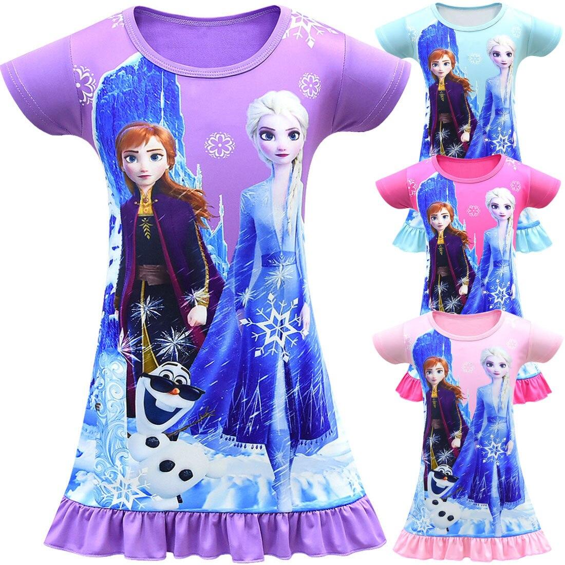 Frozen nightdress pijamas disney cartoon girl mid-length saia vestidos infantis dar às crianças um presente de aniversário
