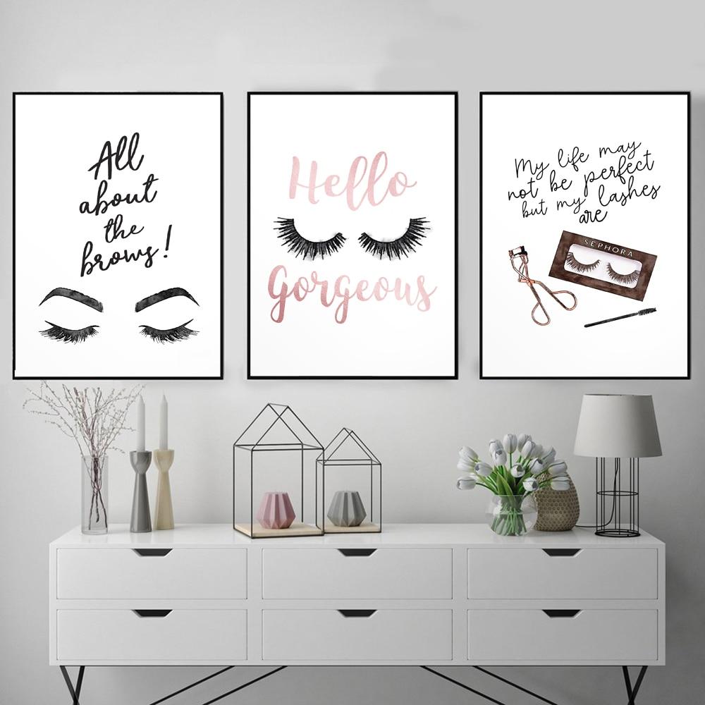 Pintura en lienzo con impresión de pósteres modulares nórdicos, póster de moda de dibujos animados para pestañas, arte de pared, imágenes HD, minimalismo para dormitorio, decoración del hogar