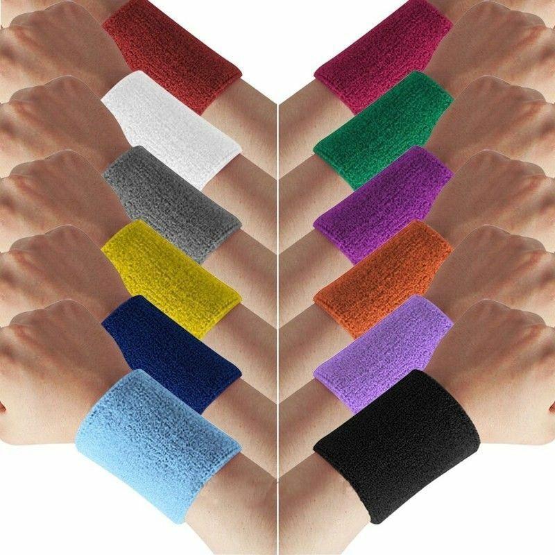 Terry Cotton Sweatband  WristBand Sports Tennis Yoga Arm Sweat Absorbed Sleeve Wraps Towel Band Bracers Wrist Wrap Cuffs