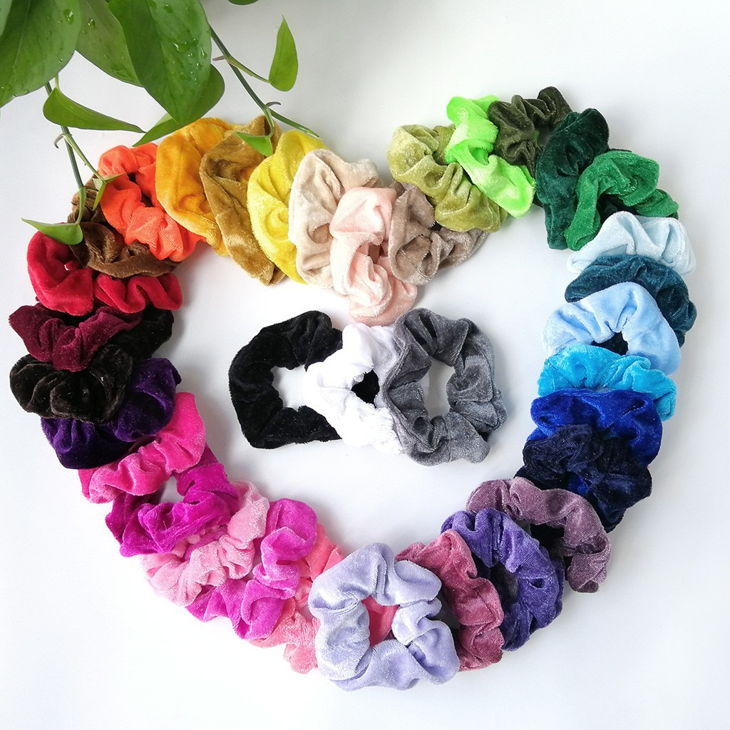 9/15 /20 piezas de terciopelo elástico bandas para el cabello cuerda de pelo para mujeres niñas de cola de caballo titular de invierno, accesorios para Scrunchie