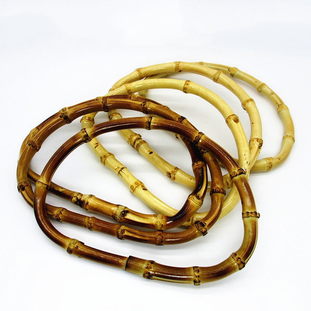 Vintage Round Bamboo Bag Handles Wood Handcrafted High Quality Handbag Replacement DIY Accessories For Bags Dropship
