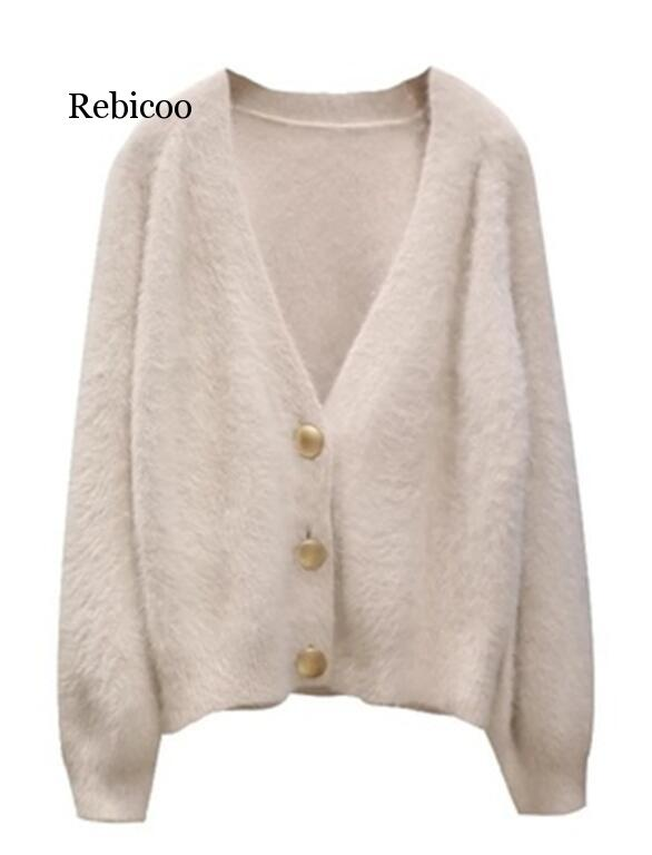 Mohair, suéter para mujer, de invierno con cárdigans cuello en V, camisetas de punto, prendas de vestir Blanco sólido, suéteres casuales marrones de punto para mujer