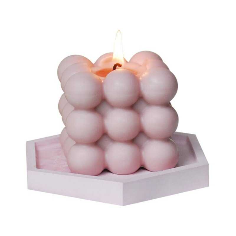 Square Cube Candle Mold Handmade DIY Candle Material Wax Soy Wax Essential Oil Aromatherapy Home Decoration Pink White#Q  - buy with discount