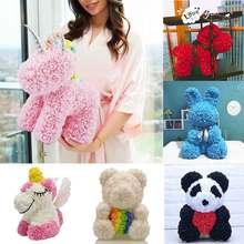 2020 di Vendita calda Del Coniglio Cane Panda Unicorn Teddy Bear Rose Sapone Del Fiore della Gomma Piuma Artificiale Giocattolo Regali Di Natale per Le Donne di San Valentino regalo