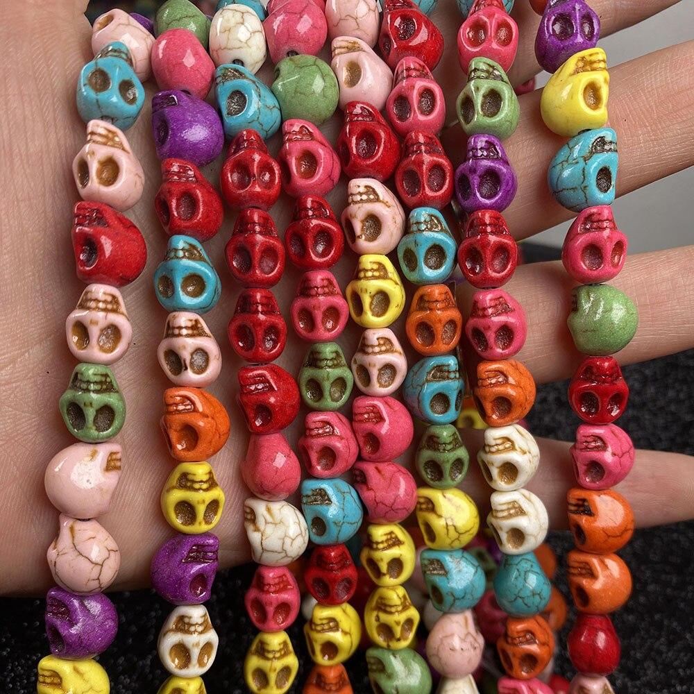 Grânulos de pedra turquesa forma do crânio solta isolamento grânulos semi-acabados para fazer jóias diy colar pulseira acessórios