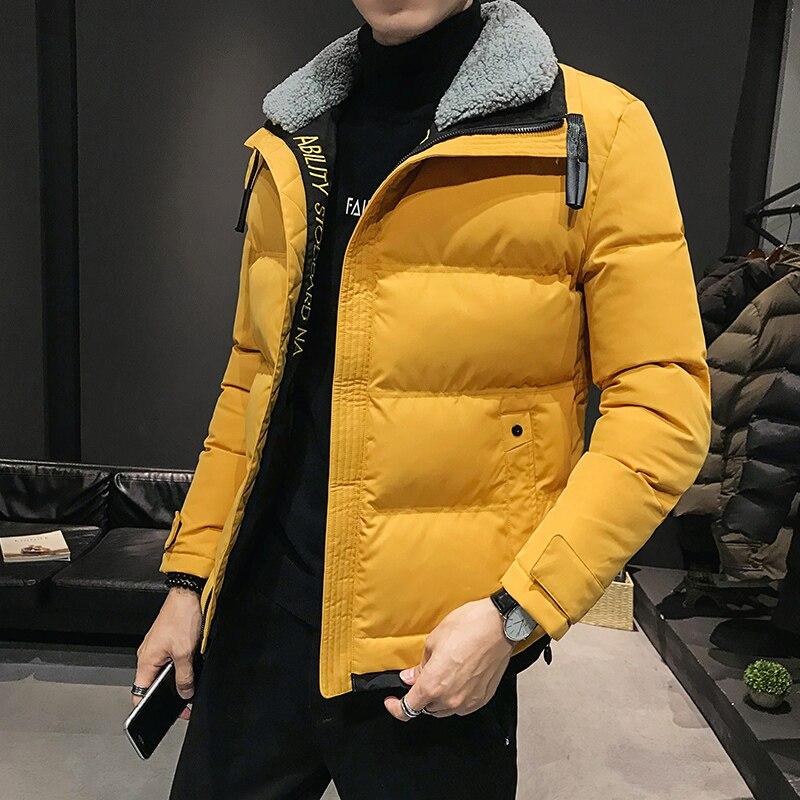 Новая зимняя мужская мода корейский шерстяной воротник Молодежная теплая короткая куртка с хлопковой подкладкой куртка для мальчиков студ...