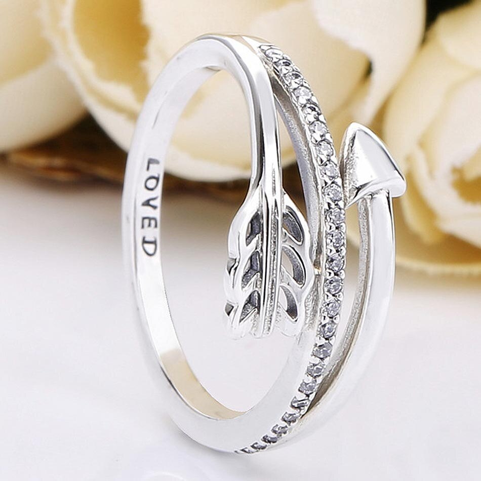 Anillos de flecha brillantes originales con cristal para mujeres anillo de Plata de Ley 925 regalo de fiesta de boda joyería fina Europa