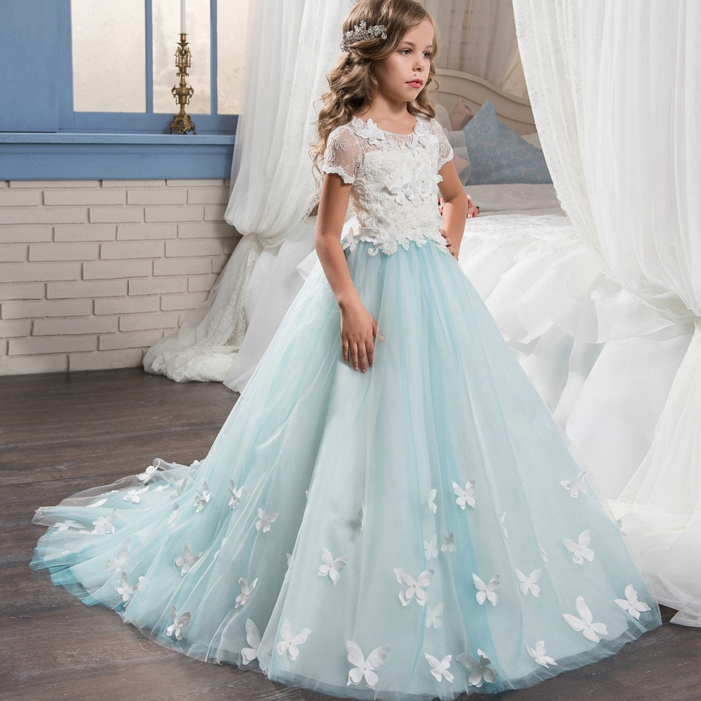 dresses mayoral 10686388 casual dress with short sleeves for girls Tulle Elegant Flower Girl Dress Lace Appliques Pageant Dress with Flowers Top Short Sleeves First Communion Dresses For Girls
