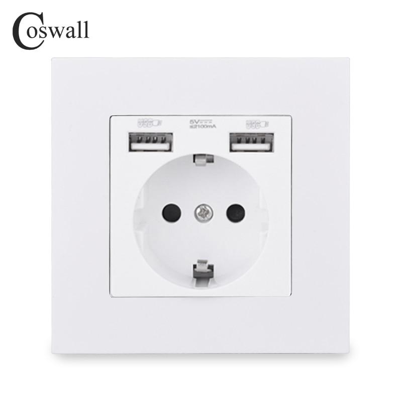 COSWALL Russia Spain EU Standard Wall Socket USB Charge Port Simple PC Panel Black White Grey E20 Series Full Rangle