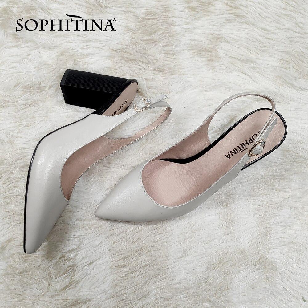 Foitina-صندل نسائي بكعب مربع من جلد الغنم ، حذاء صيفي ، مزين بزخرفة معدنية ، C679