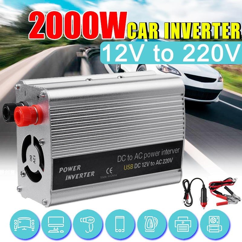 2000W DC 12V إلى AC 220V USB سيارة السلطة العاكس شاحن محول محول DC 12 إلى 220 AC تعديل موجة جيبية محول