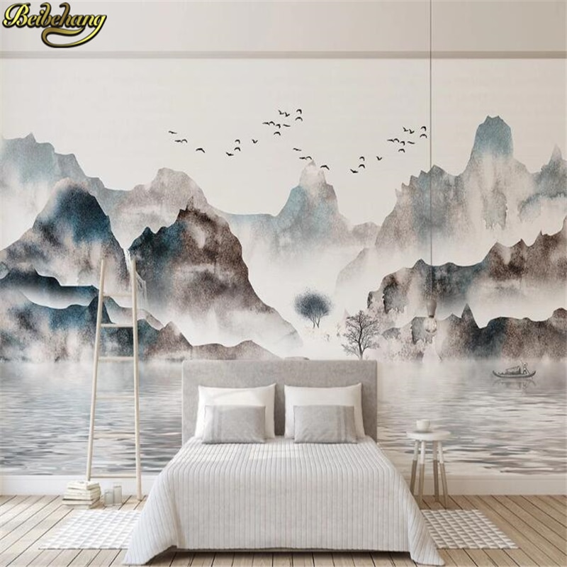 beibehang Photo Wallpaper Nature Landscape Ink landscape painting Mural Living Room Sofa TV Background photo Wall paper roll