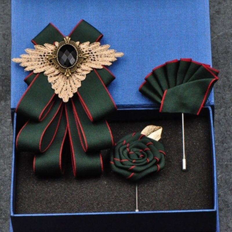 Korean Fashion New Men's Bowtie Handmade British Striped Rhinestone Bow Ties Business Groomsman Wedding Pocket Towel Square Set недорого