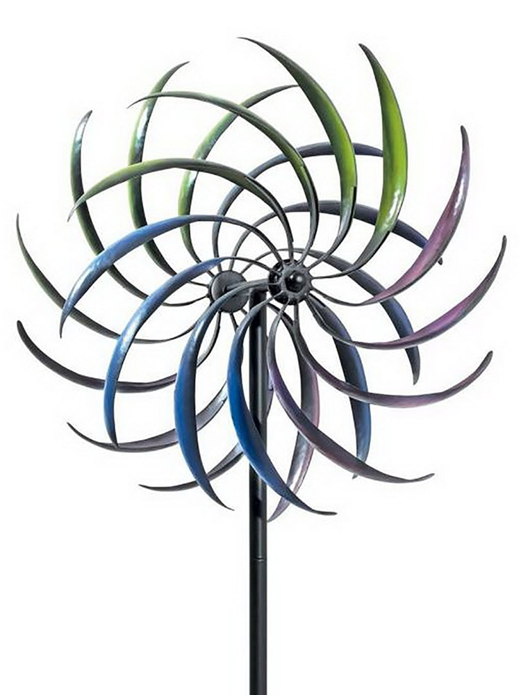 Rainbow Color Wrought Iron Windmill Crafts European Pastoral Doublelayer Rotating Windmill Outdoor Garden Decor Incredible