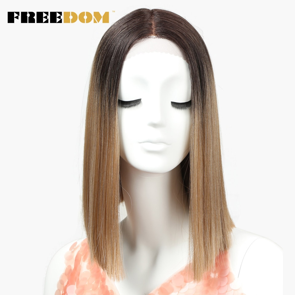 Peluca con malla frontal sintética FREEDOM, pelucas rectas de 14 pulgadas, peluca azul 613 de Color rojo, peluca con 13 colores, peluca de moda para Cosplay