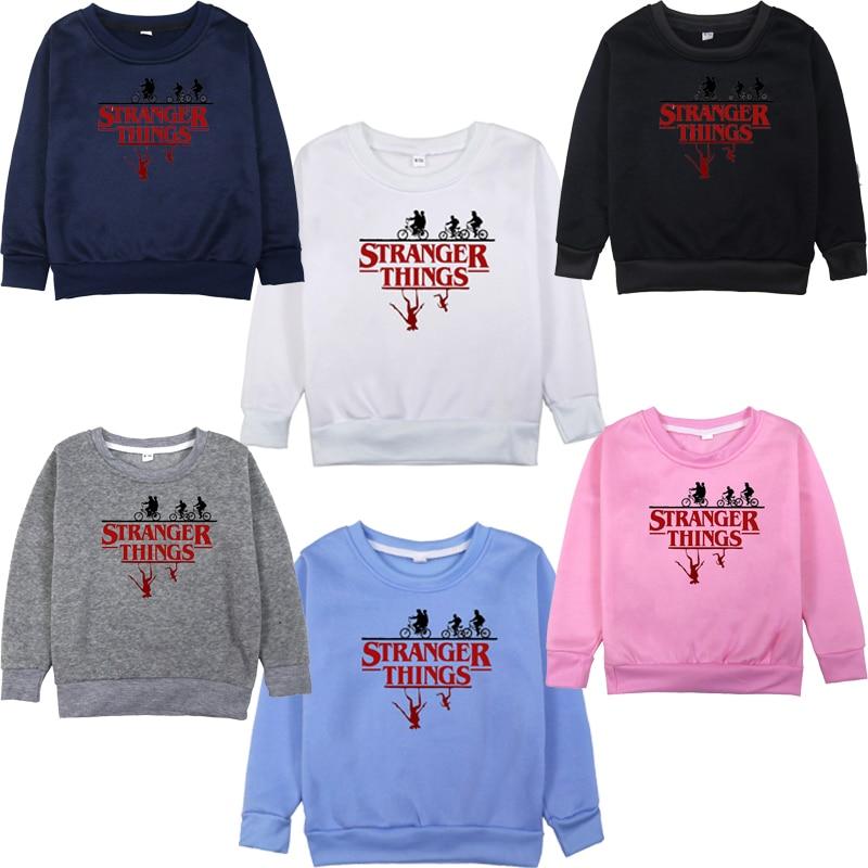 Hot Stranger Things Hoodie Fashion Casual Kids Toddler Velvet Long Sleeve Cotton Sportswear Sweatshirts Tops Outwear Pullover