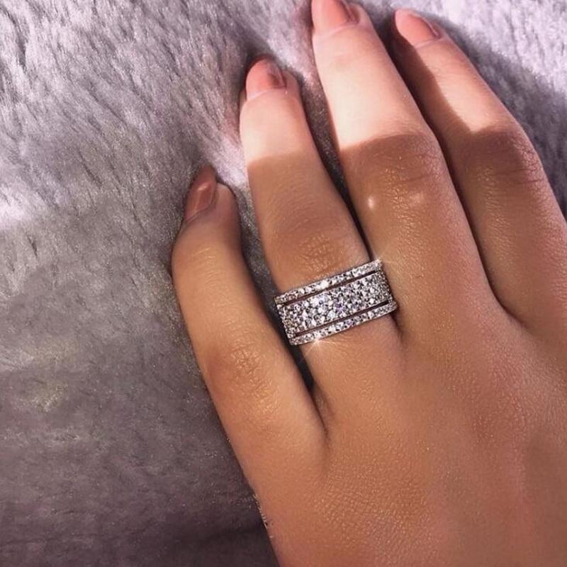 Women Men Wide Type Ring Titanium Rings Men Band Simulated Diamonds Rings Wedding Jewelry