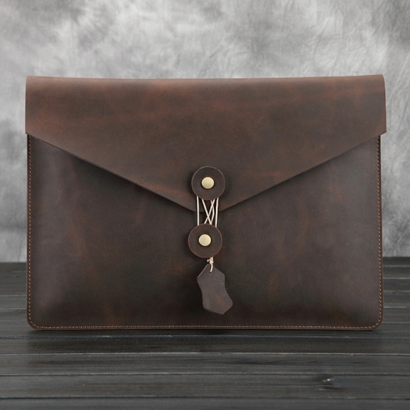 Genuine Leather Briefcase For IPad Pro 12.9 Inch Men Bags File Package Envelope Bag A4 Papers IPad Bag