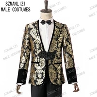 terno 2 pieces men suits for wedding 2020 custom made gold floral party blazer smoking prom suits groomsmen groom mens tuxedo