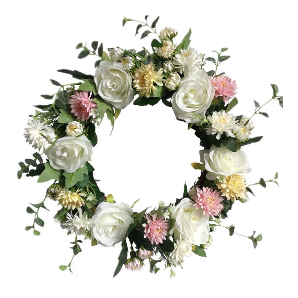40 см шелковые Искусственные венки с розовыми цветами, идеальное качество, Искусственные венки для свадебного украшения, вечерние украшения для дома