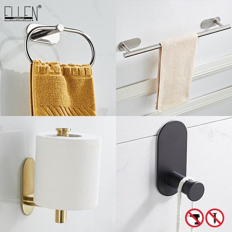 إلين-مجموعة ملحقات الحمام ، بدون ثقب ، قضيب منشفة ، حلقة ، حامل ورق التواليت ، خطاف رداء أسود ELB1001
