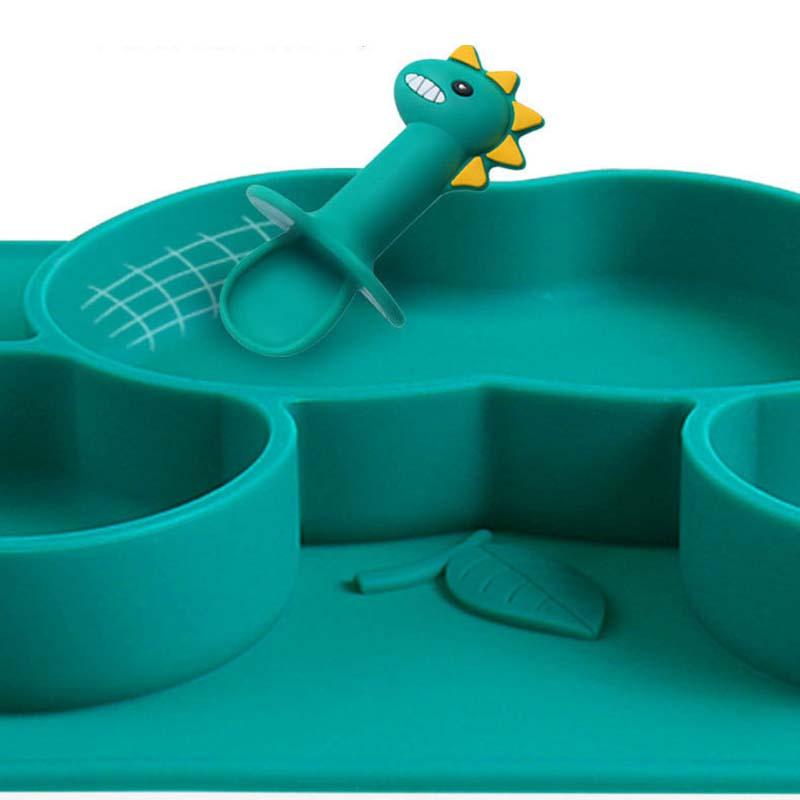 10Sets Silicone Baby Dinnerware Divided Plate Kids Bowl Cartoon Dinosaur Spoon Fork Baby Feeding Meal Training Bowl Tableware enlarge