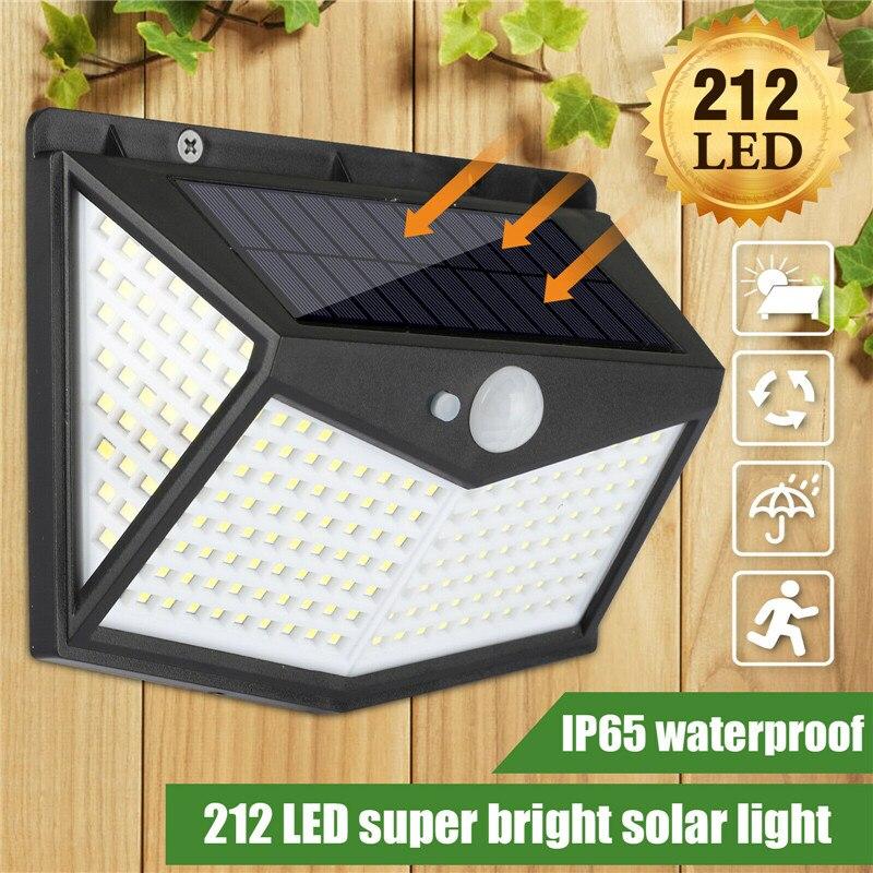 212 Led Solar Light Outdoor Solar Wall Lamp LED Bulb IP65 PIR Motion Sensor Lampara Solar Lighting Garden Decoration Lights 60W