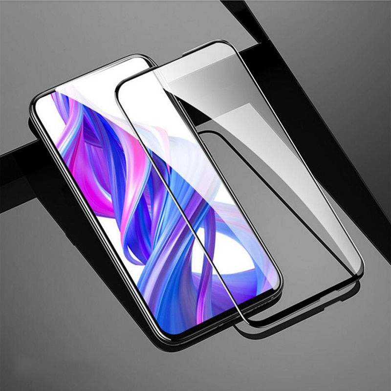 2 paquetes para Huawei Honor 9X película de vidrio templado armadura delgada cubierta frontal completa Protector de pantalla para Honor 9X Premium negro