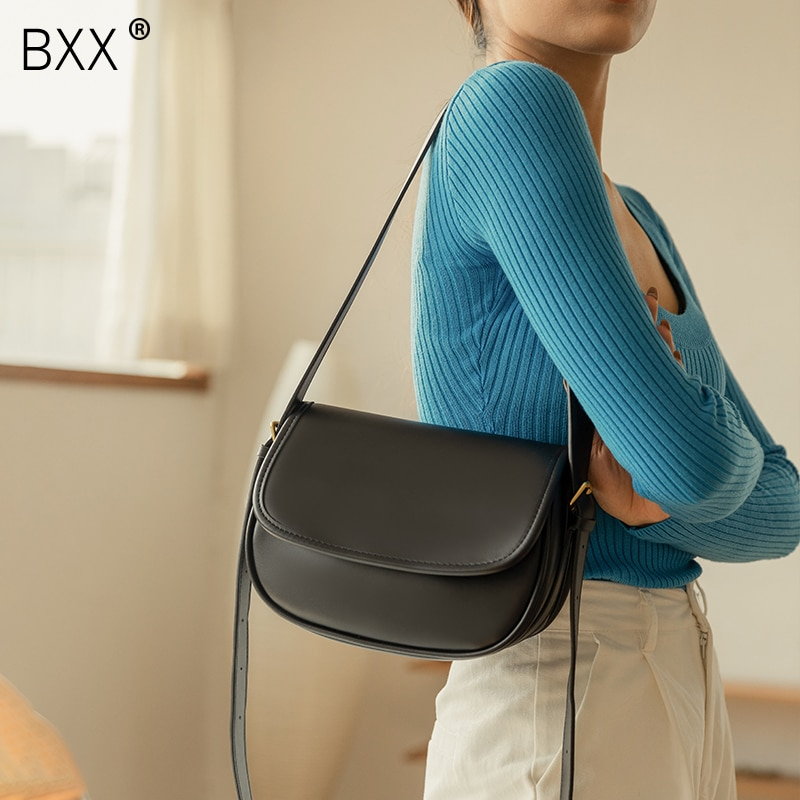 [BXX] PU Leather Crossbody Saddle Bags For Women 2021 Winter Quality Ladies Brand Designer Handbags Simple Shoulder Bag HP887