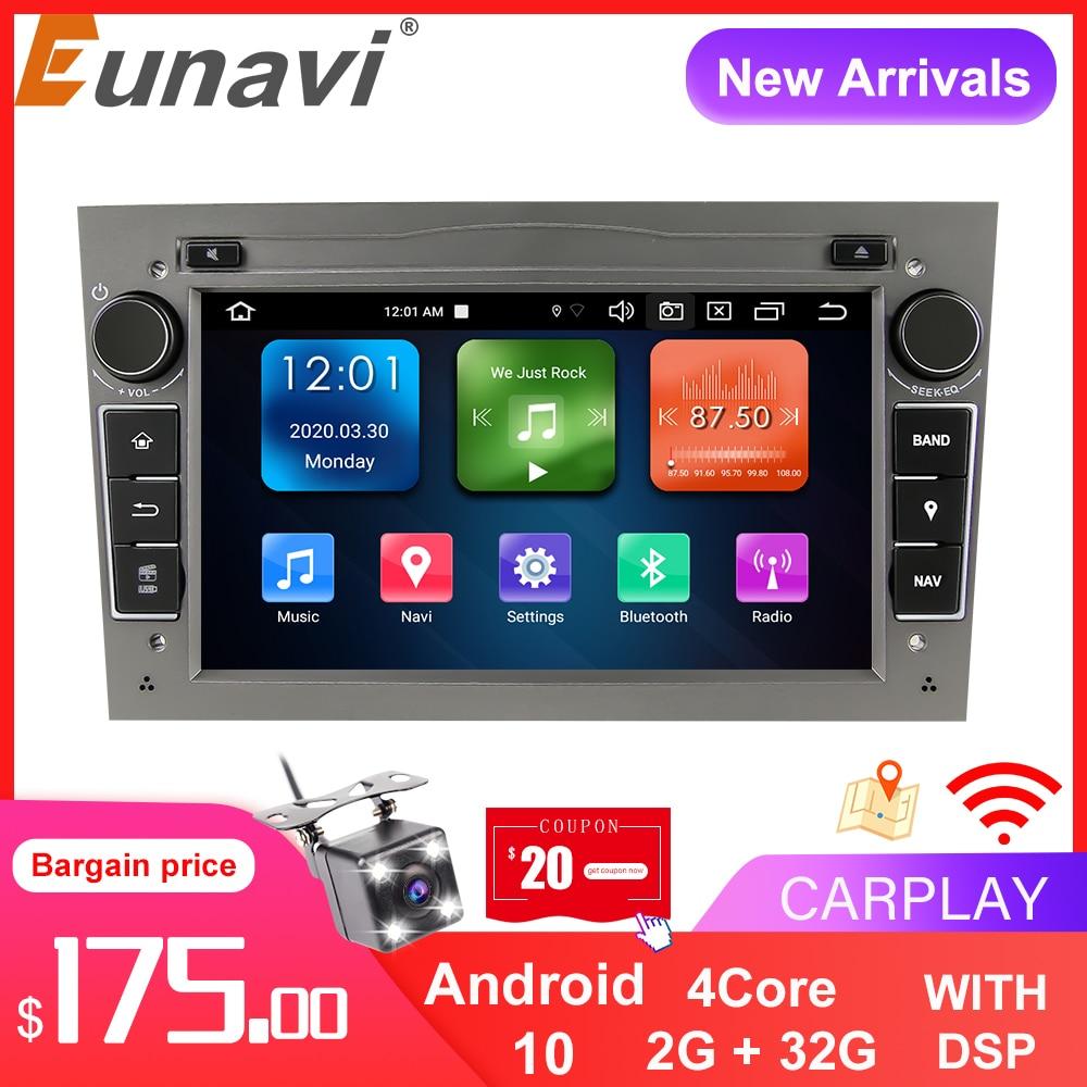 Eunavi 2 الدين أندرويد 10 سيارة راديو مشغل وسائط متعددة لأوبل فوكسهول أسترا H G J فيكترا انتارا زافيرة كورسا Autoradio غس نافي