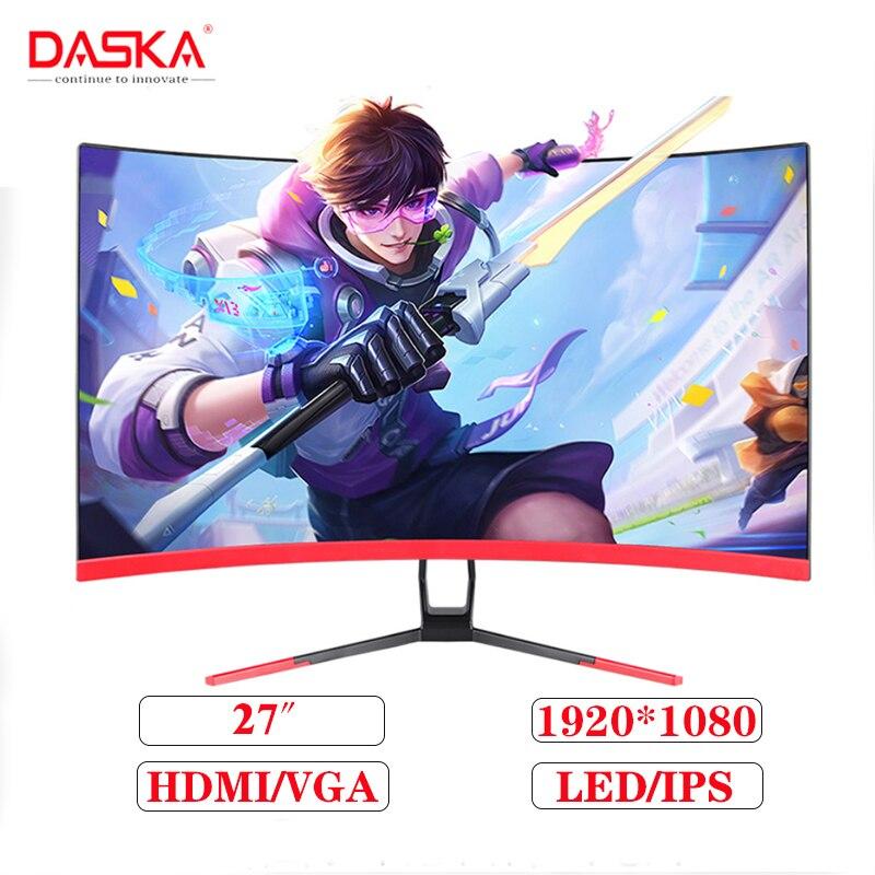 DASKA 27-inch IPS LCD monitor HD 1080P LED computer display 27-inch gaming contest curved widescreen 16: 9 VGA / HDMI display