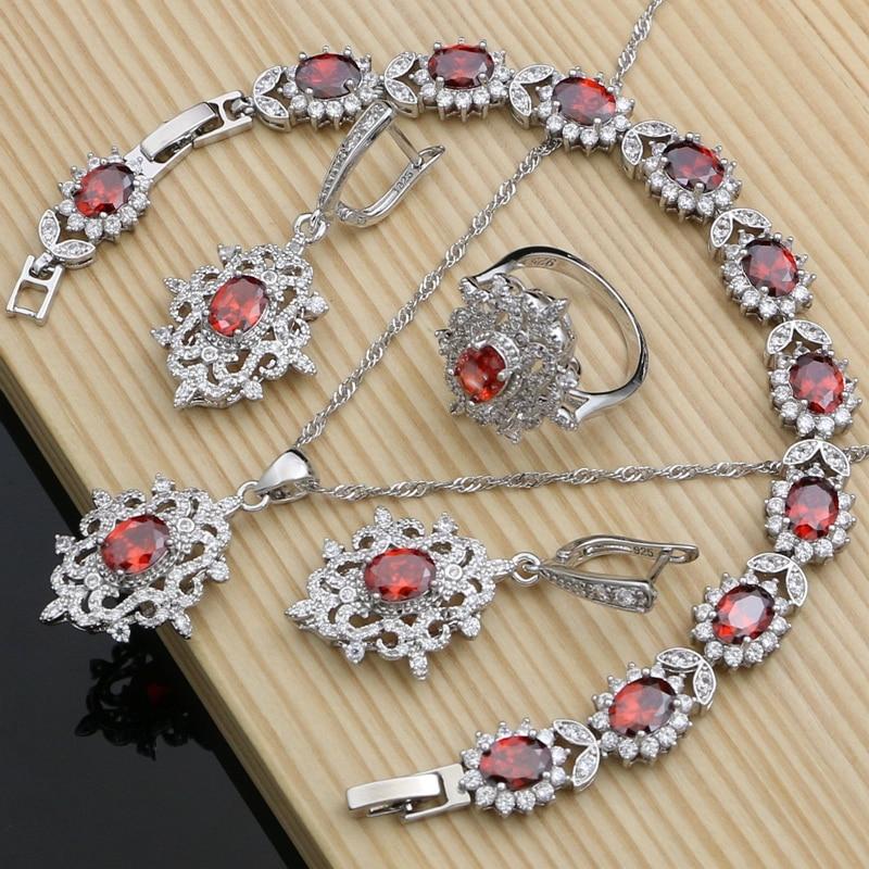 Red Garnet Bridal Jewelry Sets dla kobiet srebro 925 Wedding Vintage czeski kolczyki z kamieniem naszyjnik zestaw Dropshipping