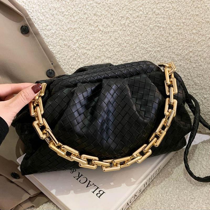 SWDF Luxury Brand Handbag Women's Bag Pu Leather Fashion Thick Chain Shoulder BagsTrendy Crossbody Bags For Women 2021 New Purse