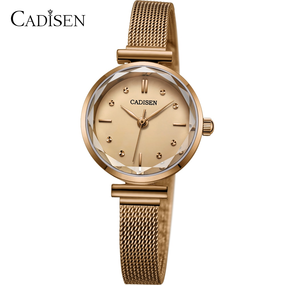 CADISEN luxury brand watch women fashion dress Quartz ladies mesh stainless steel waterproof casual gold watches Lady for girl enlarge