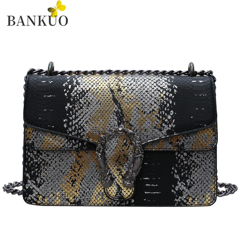 BANKUO Vintage Womens Bag PU Snake Print Shoulder Bag Fashion Chain Handbags for Women Branded Female Bags X369  - buy with discount