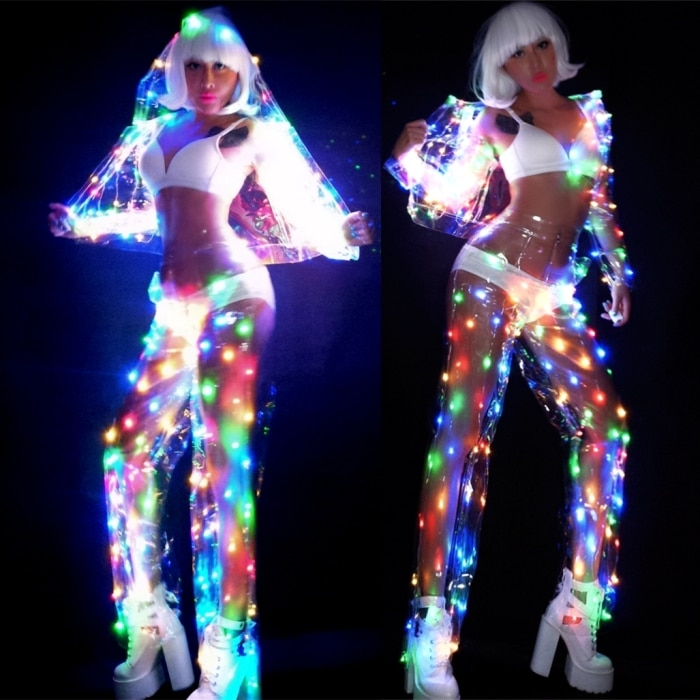 Femme multicolore LED lumières Performance vêtements musique Festival chanteur danseur équipe DJ Disco Costume Sexy LED Perspective Costume