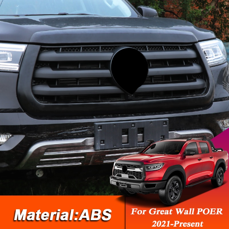6 قطعة الكروم سيارة التصميم ABS قطاع للجدار العظيم POER Connon 2021-2022 الأوسط شبكة الديكور قطاع اكسسوارات السيارات الخارجي
