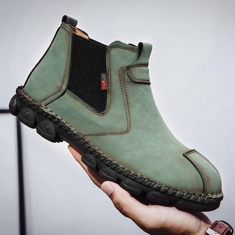 حذاء جلد أصلي للرجال ، حذاء كاجوال بنمط تشيلسي ، سهل الارتداء ، مقاس كبير 38-48