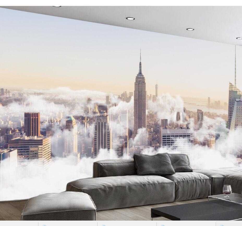 Personalizado grande fresco 3d papeles de pared de fotos Ciudad abstracta mar de paisaje de nubes vida fondo de sala papel 3d murales