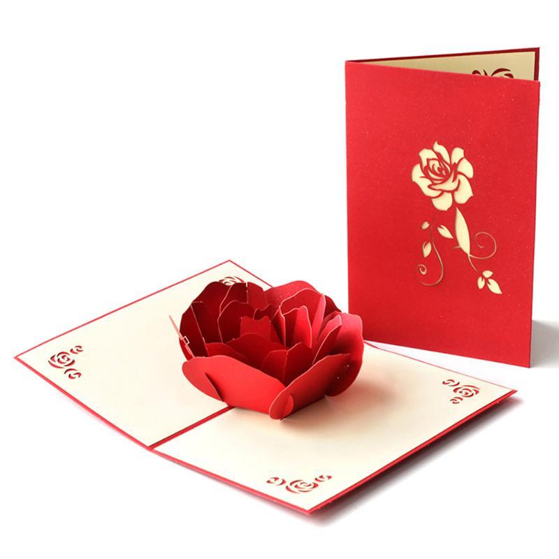 3D karty kirigami kartka urodzinowa dla dziewczynki dzieci żona mąż róża/tort urodzinowy powitanie kartka okolicznościowa z kopertą prezent na walentynki