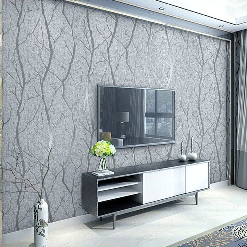 beibehang pastoral flowers wallpaper for walls 3d wall paper for wall 3 d classic embossed tv room bedroom wall paper home decor Thick Grey Velvet 3D Wallpaper For Bedroom Walls Living room Background Flocked Tree Branches Embossed wall paper home decor