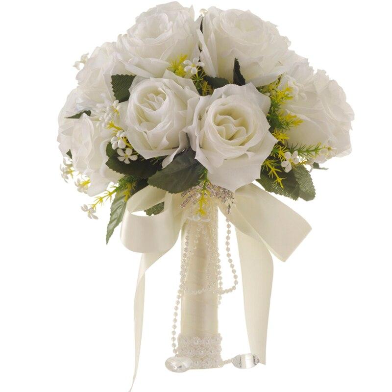 Ramo de flores blancas ramo de boda hecho a mano hojas de flores de perlas Ramos para dama de honor en boda