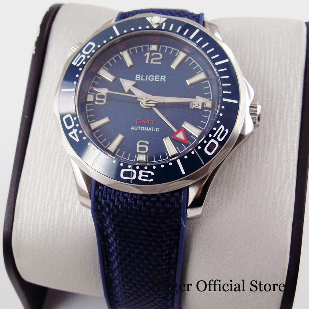 BLIGER-ساعة رجالية ذاتية الملء ، ساعة يد ، زجاج ياقوتي ، موديل GMT ، 41 مللي متر ، عصري