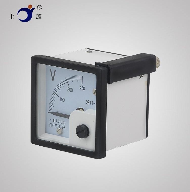 1 pièces 99T1 AC 50V 100V 150V 300V 450V 500V réglage fin cadran panneau analogique tension mètre voltmètre blanc noir 48*48mm