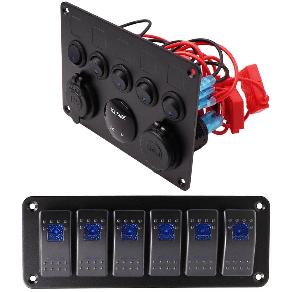 Barco coche interruptor Panel 12V toma de corriente Panel azul LED voltímetro Dual USB Cargador/adaptador de corriente para coche barco Marina RV Tr