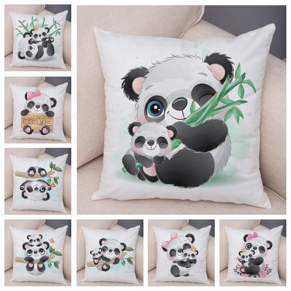Panda chinês dos desenhos animados macio de pelúcia capa almofada para o quarto das crianças sofá casa decoração do carro adorável animal fronha 45x45