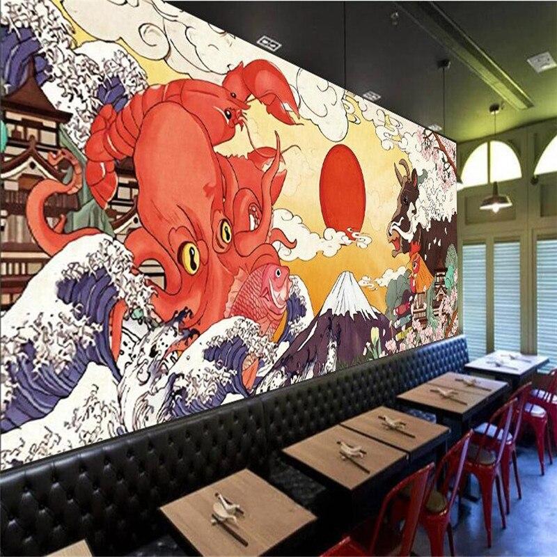 Japonês ukiyo-e obras loja de cozinha sushi restaurante papel de parede sunwind homestay decoração industrial fundo mural papel de parede 3d